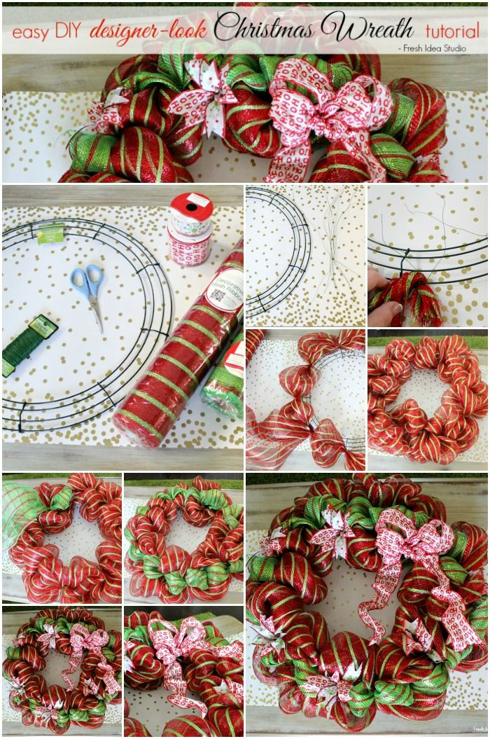 Pin This - easy step-by-step guide to making your own Designer Look Christmas Wreath  Fresh Idea Studio.com