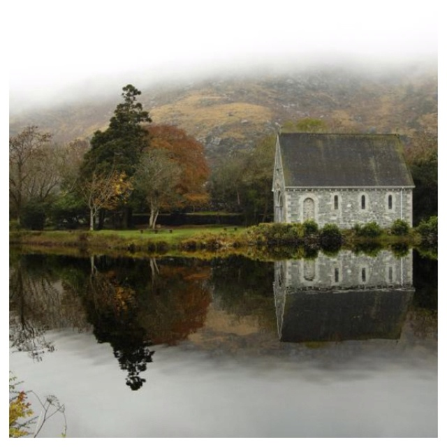 The Chapel at Gougane Barra, Kerry National Forest, County Kerry. If you go to Ireland, you must visit. They have a lovely B&B and a four star restaurant. Plus the most amazing goats staring at you through your windows!