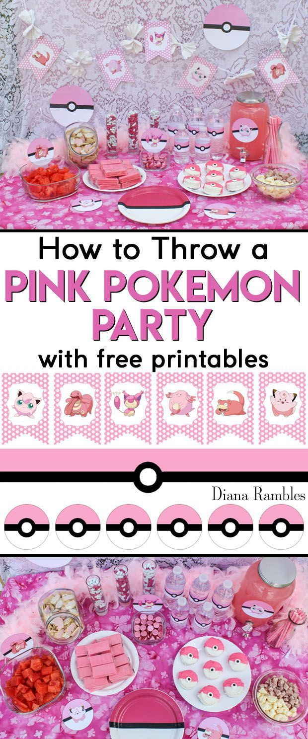 How to Throw a Pink Pokemon Party - Does your daughter love Pokémon? Throw her a Pink Pokemon Party with these free party printables that feature Pink Poke Balls. Perfect for birthday parties!