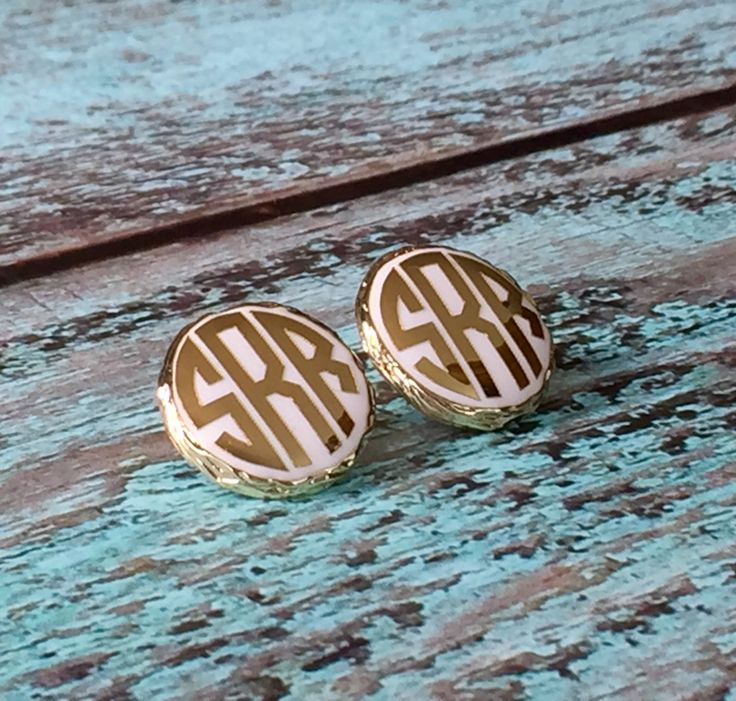 Gold Monogram Earrings, Monogrammed Gifts, Gold Monogram Earrings, Monogrammed Earrings, Graduation, Valentine's, Mothers Day by PoshPrincessBows1 on Etsy