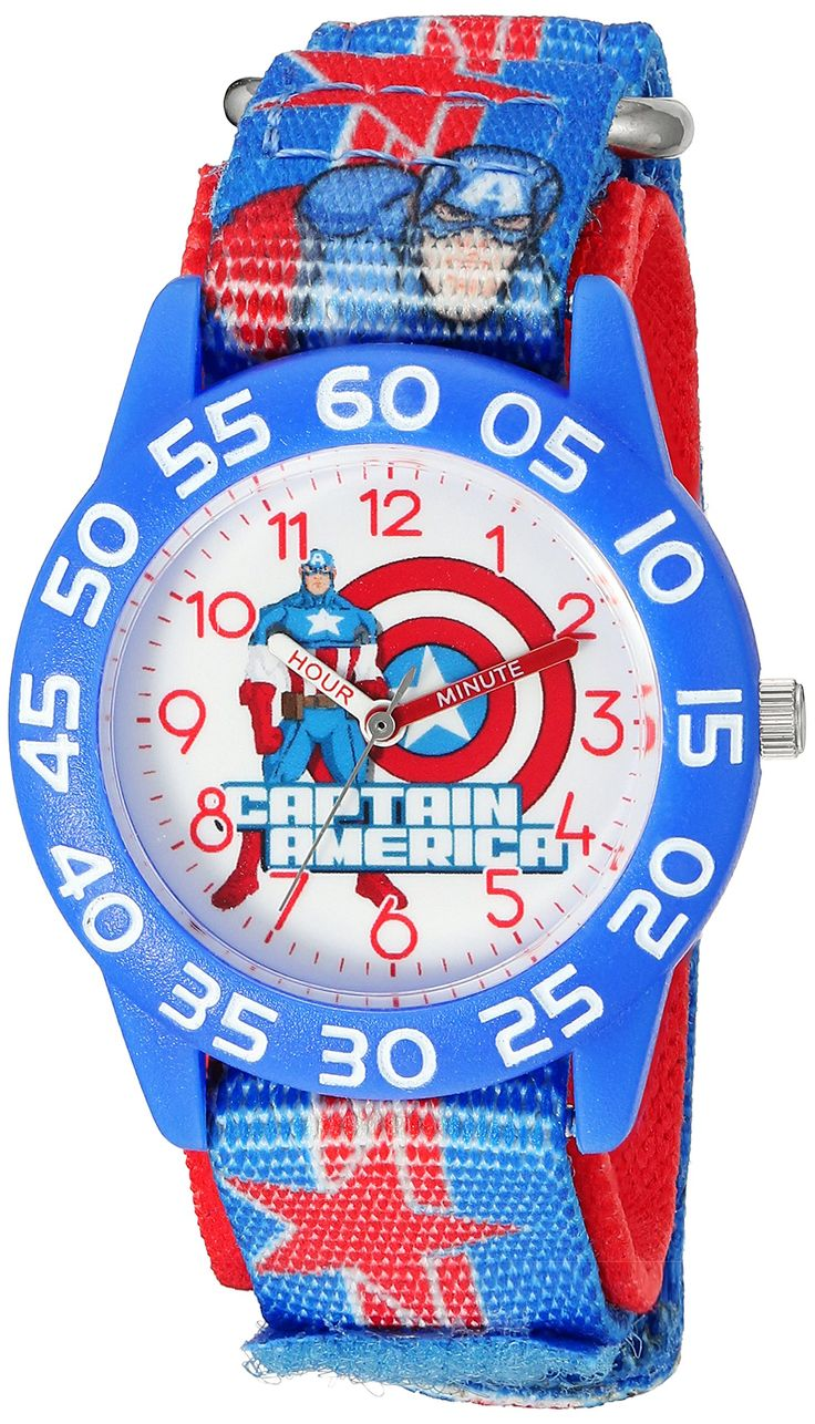 Marvel Boy's 'Captain America' Quartz Plastic and Nylon Automatic Watch, Color:Blue (Model: W003211). Meets or exceeds all US Government requirements and regulations for Kid's watches. 1 year limited manufacturer's warranty. Analog-quartz Movement. Case Diameter: 32mm. Water Resistant To 30m (100ft): In General, Withstands Splashes or Brief Immersion In Water, but not Suitable for Swimming or Bathing.