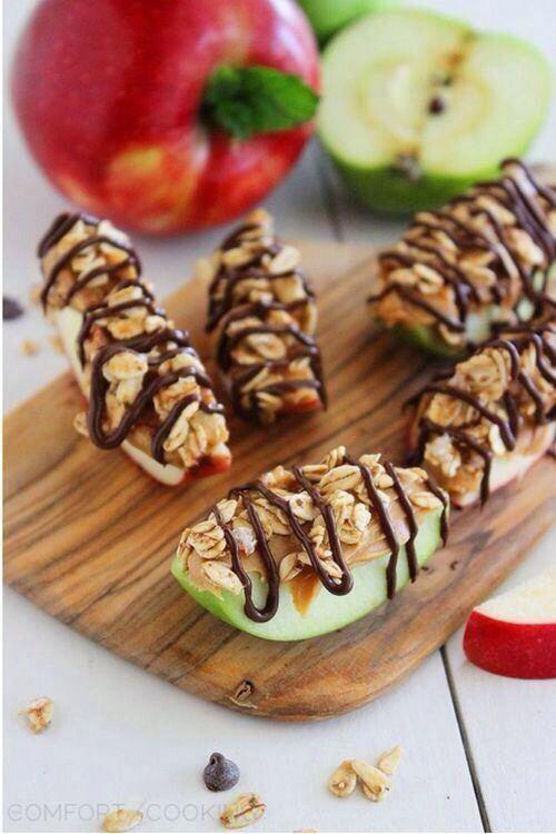 Healthy dessert, apples, peanut butter, granola & drizzled dark chocolate