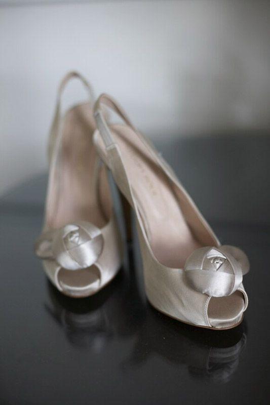 Glint Ivory Wedding Peep Toe Shoes