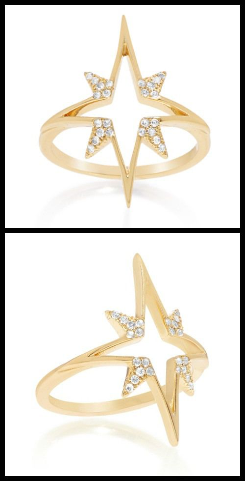 Elizabeth and James Northern Star ring with white topaz. At Stone and Strand.