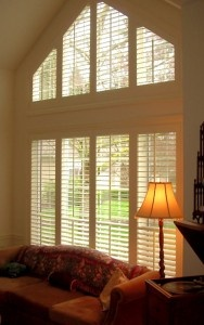 angled window treatment for my living room