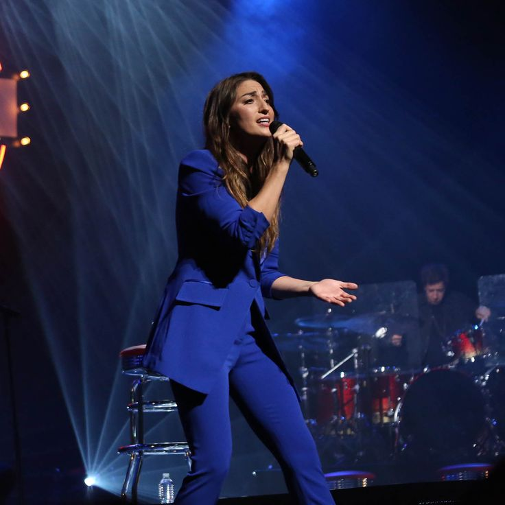Sara Bareilles took the stage in style at the album release concert for the Broadway musical Waitress, wearing our tuxedo in cobalt blue. http://on.dvf.com/1NrrmEE http://on.dvf.com/1HIgKPR #SoDVF