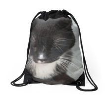 Black Cat Brings Luck Drawstring Bag