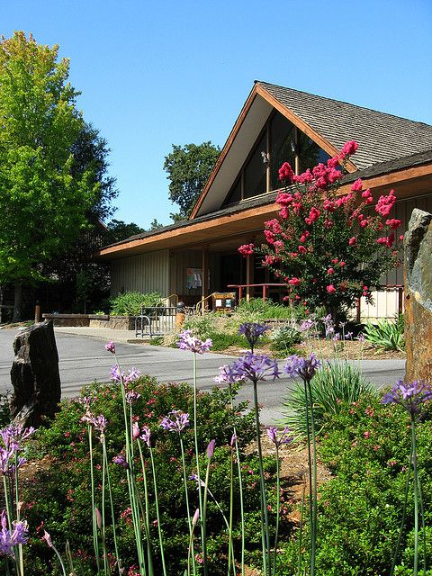 Woodside Library's beautiful front entrance by San Mateo County Library, via Flickr