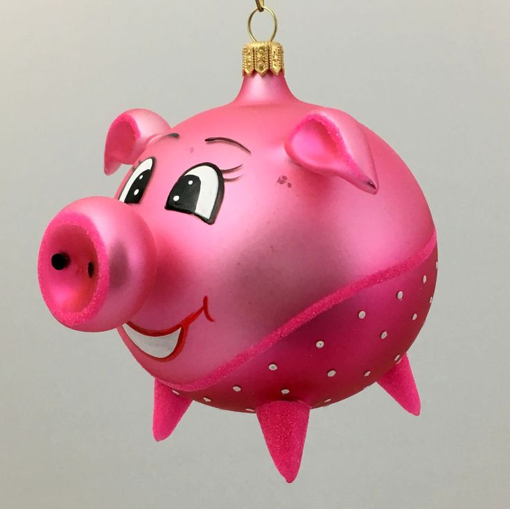 PINK PIGGY-Glass Christmas tree ornament-handmade in Poland