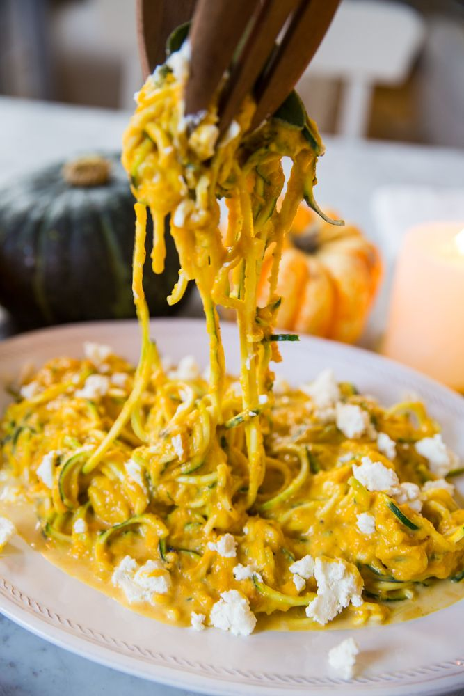 Low carb pumpkin sage courgetti (zucchini noodles) recipe with goat cheese