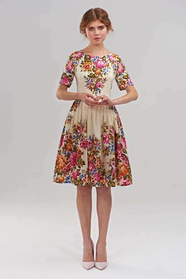 """1950s style """"Maria"""" dress is produced of a unique yarn: Russian wollen shawls. These shawls have been manufactured in the small town of..."""