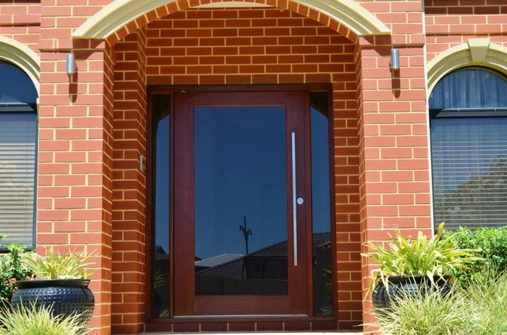 Timber pivot door, Stainless steel handle and grey glass, Perth