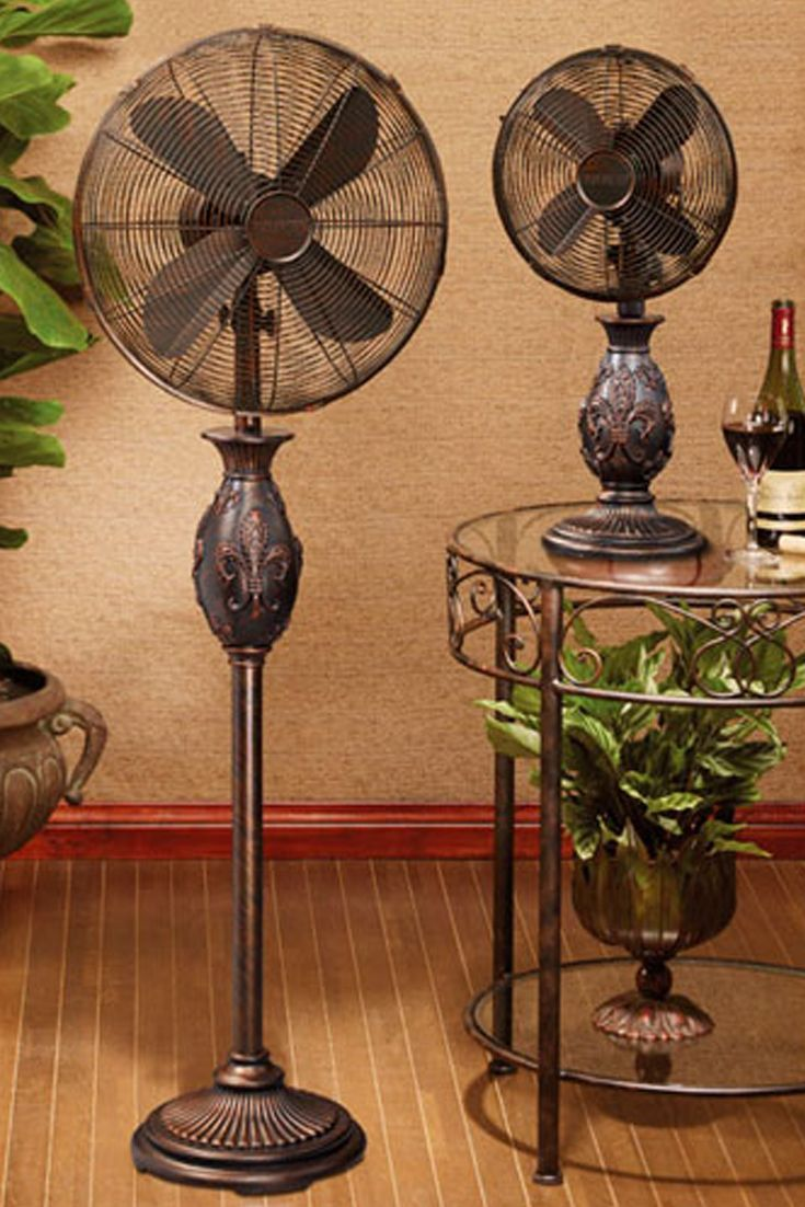 This is utterly fan-tastic! Our 16� Fleur De Lis – Copper Deco Floor Standing Fan does more than just provide you with a gentle breeze; it makes a great design statement with its stylish base and long deeply textured neck that features a beautiful fleur d