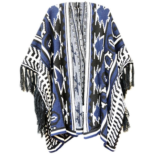 Navy Blue Womens Fringe Color Block Oversized Cardigan Sweater ($31) ❤ liked on Polyvore featuring tops, cardigans, outerwear, jackets, kimono, navy blue, navy top, fringe cardigan, color block top and fringe top