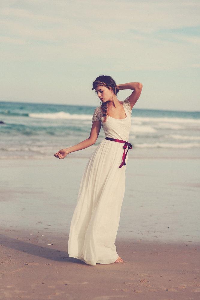 Ivory French lace silk chiffon beaded wedding dress capped sleeve floaty skirt