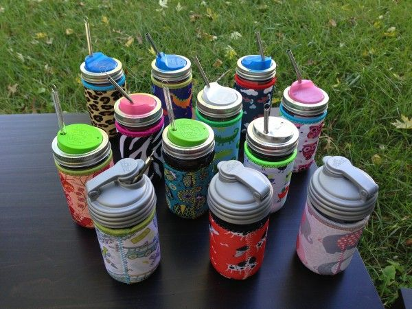 Colorful Neoprene Cozies on Reusable Drinking Jars. Find the cutest jar accessories at The Pint and a Half! #ad http://momalwaysfindsout.com/2013/12/drinking-jars-with-lids/