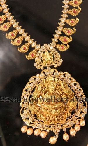 Flat Diamonds Mango Necklace with Lakshmi | Jewellery Designs