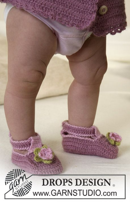 """""""Small feet need sweet garments. These in various pink shades and with darling crocheted flowers"""""""