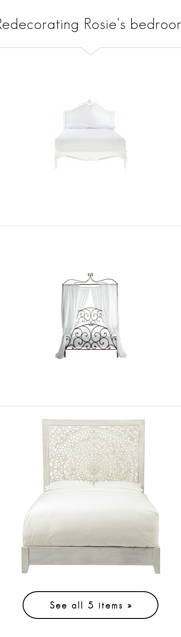 """""""Redecorating Rosie's bedroom"""" by alleypea ❤ liked on Polyvore featuring home, furniture, beds, bedroom, home decor, handmade headboards, mango wood furniture, handcrafted furniture, handmade beds and hardware furniture"""