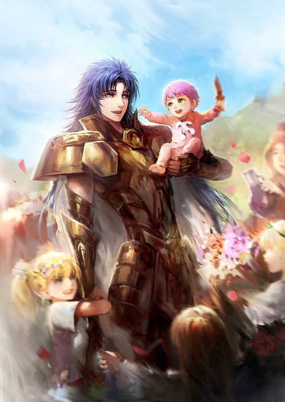 Gemini Saga with baby Athena and other children