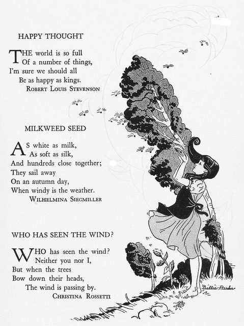 """Milkweed Seed    """"Childcraft, Volume One. Poems of Early Childhood."""" Published by the Quarrie Corp in Chicago. Copyright 1923, 1931, 1934, 1935, 1937, and 1939. Edited by S. Edgar Farquhar and Patty Smith Hill. Art editor Milo Winter. 38 artists listed in addition to the work of Milo Winter."""