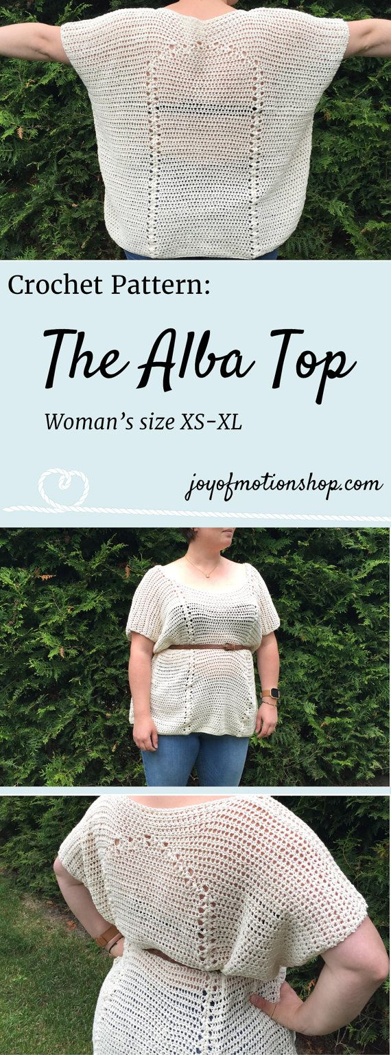 The Alba Top - a crochet pattern. Woman's top crochet pattern with skill level easy.. Make this fashionable crochet top with your own crochet hook & yarn. Top crochet pattern easy for her. | crochet top | woman's crochet top | crochet pattern for her | fashionable crochet top | interesting crochet top | Click to purchase or repin to save it forever.