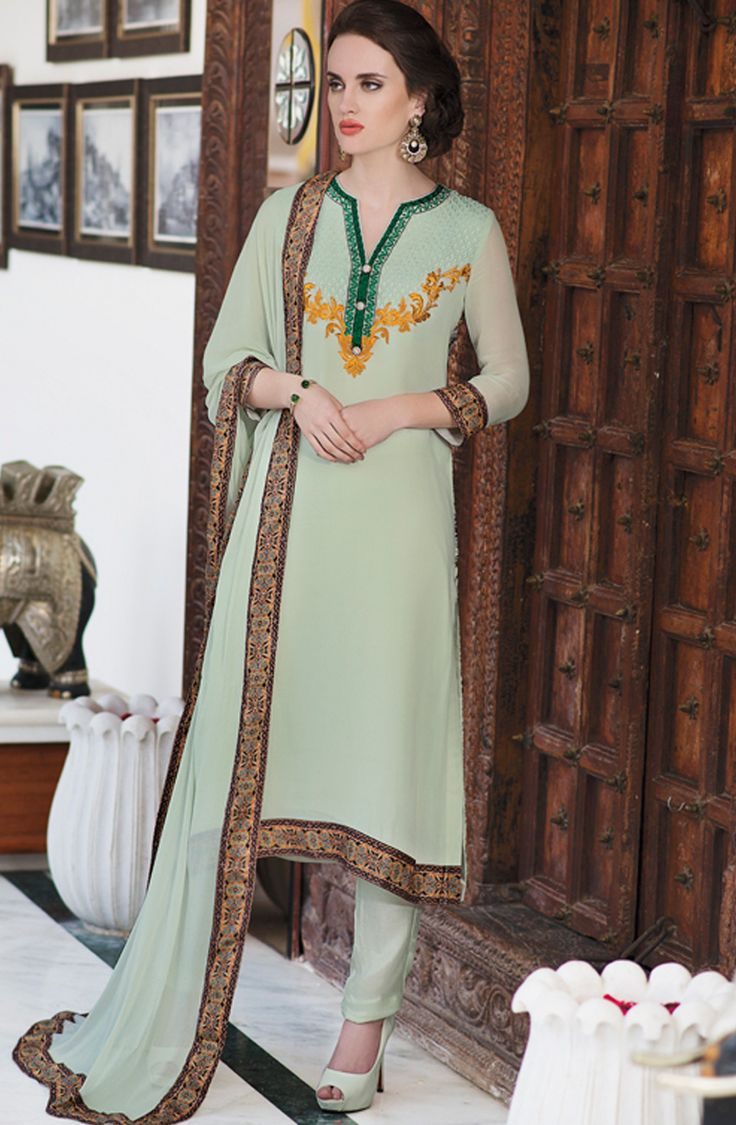 A celebration of traditional aesthetics and contemporary vogue, this mint green salwar kameez dupatta set will add unparallel grace to your feminine charm. Tailored from soft and lightweight georgette, this unstitched set is made to impress. Featuring elegant embroidery on the neck with refreshing prints on the back this salwar kameez is a must buy!