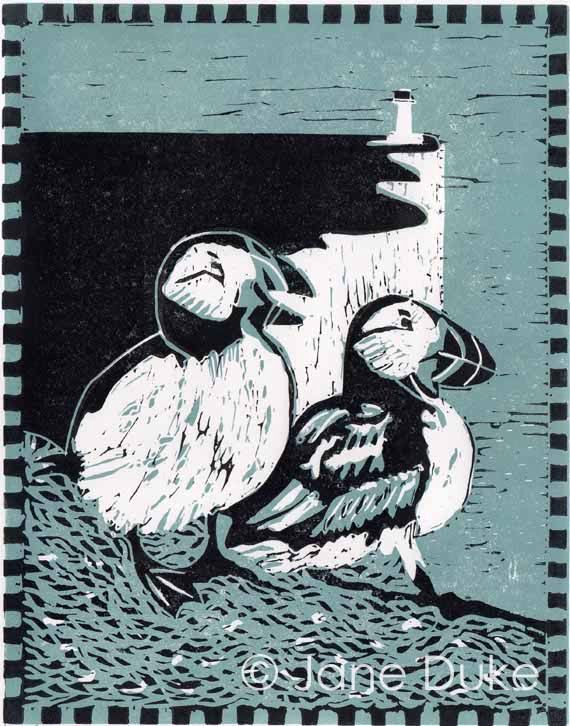 Puffins Linocut Relief Print Teal and Black by janedukeartist, £30.00
