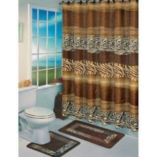 Safari Themed Bathroom | Wild Animal Print Jungle Safari Zebra Leopard Bath  Shower Curtain Rug