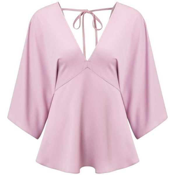 Miss Selfridge Pink V-Neck Kimono Top (€25) ❤ liked on Polyvore featuring tops, pink, miss selfridge, kimono top, pink kimono, v neck tops and v-neck tops