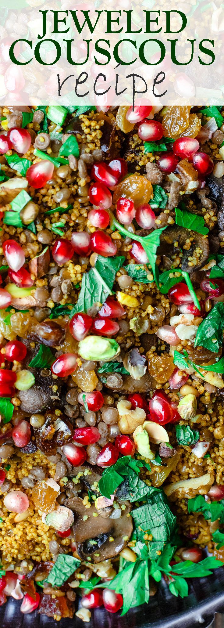 Jeweled Couscous Recipe with Pomegranate and Lentils   The Mediterranean Dish. An easy couscous recipe that makes the perfect side dish or salad! With lentils, nuts, pomegranate seeds, and flavor-packed with Mediterranean spices. Makes any dinner special! And perfect for Thanksgiving and Christmas too! See the tutorial on TheMediterraneanDish.com