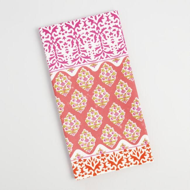 Pink Stripe Patchwork Kitchen Towel - v1