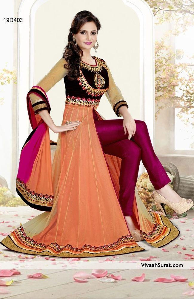 Elegant Orange & Magenta Net Anarkali Suit