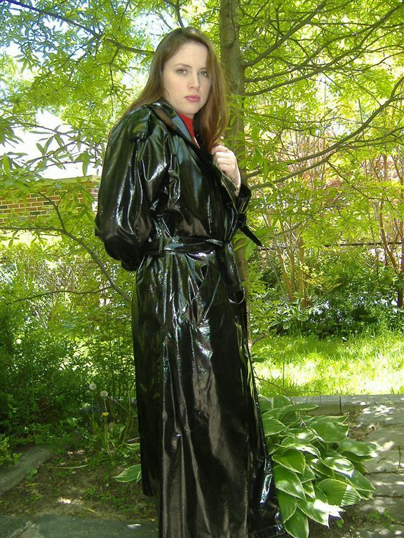 Unknown Girl In Mac Pvc Raincoat Plastic Raincoat Raincoat