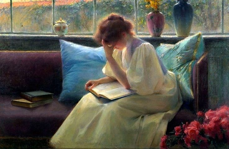 Franz Dvorak (Austrian painter, 1862-1927) Thoughtful Reader, 1906