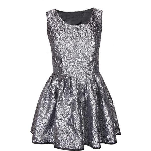 Silver Jacquard Metallic Prom Dress ($31) ❤ liked on Polyvore