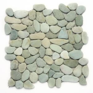 Solistone River Rock Turquoise 12 in. x 12 in. x 12.7 mm Natural Stone Pebble Mosaic Floor and Wall Tile (10 sq. ft./case)-6006 at The Home Depot