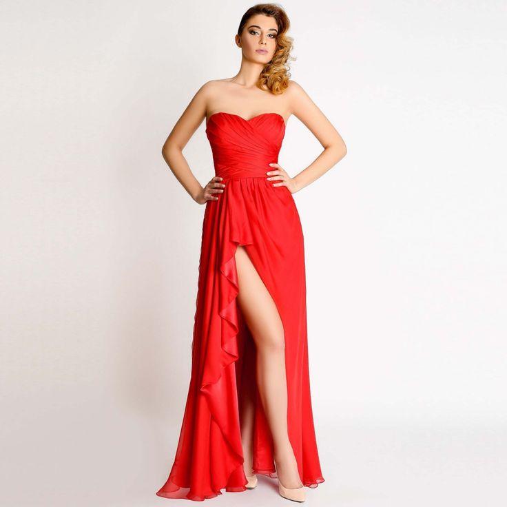Rochie de seara Anastasia starneste pasiuni! Rosie, senzuala, cu despicatura adanca, rochia de ocazii subliniaza corpul, acoperindu-l!