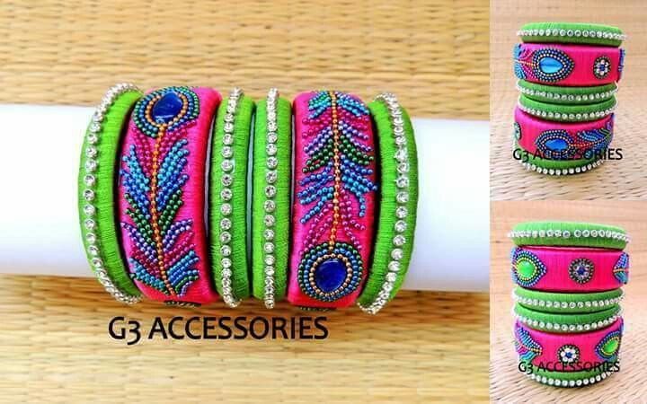 feather silk thread bangles