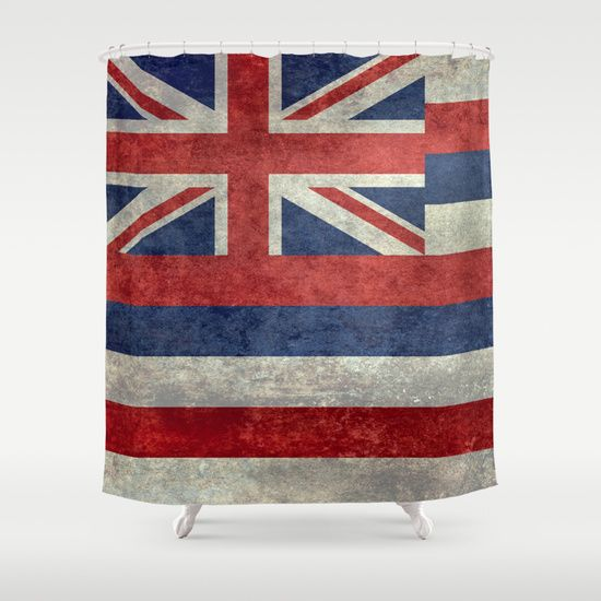 The State flag of Hawaii - Vintage version Shower Curtain  #Hawaii #flag #Hawaiianflag #vintage #retro