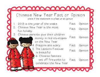 FREEBIE!   Happy Chinese New Year! Here is a activity to either help your students learn or review fact or fiction statements!   Visit my shop for my Chinese New Year Language Arts Activities Pack and my Chinese New Year Math Activities Pack!!  Thanks!