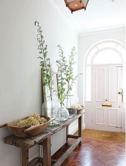 Natural Entry Table; herringbone floor; white and dreamy.