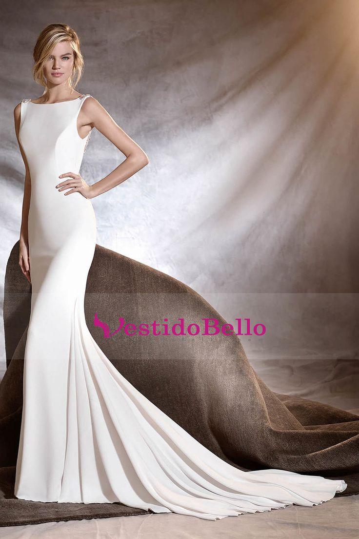 2016 vestidos de boda del V Volver Bateau Spandex sirena con rebordear