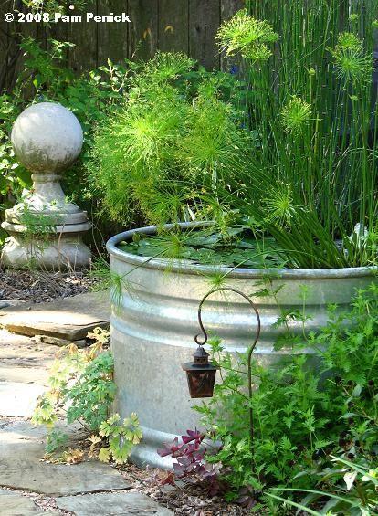Stock tank pond.: Neat Idea, Concrete Ball, Gardens Dwarfs, Water Gardens, Tanks Ponds, Water Features, Stockings Tanks, Shades Gardens, Gardens Makeovers