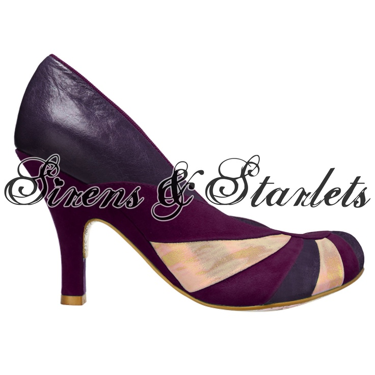 IRREGULAR CHOICE BOLSHY PURPLE LEATHER VINTAGE 50S 60S STYLE HEELED COURT SHOES Preview
