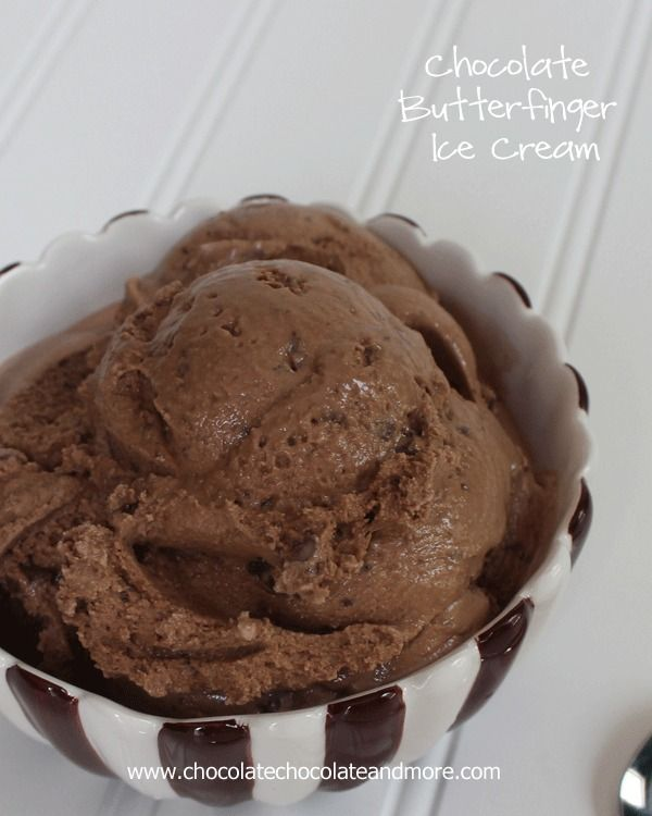 Chocolate Butterfinger Ice Cream-rich creamy chocolate icecream infused with Butterfinger Candy bars!