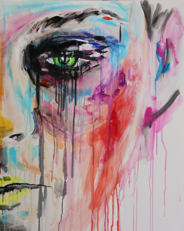 "Saatchi Online Artist: Yuliya Vladkovska; Acrylic 2011 Painting ""scheiss make-up.right. SOLD"""