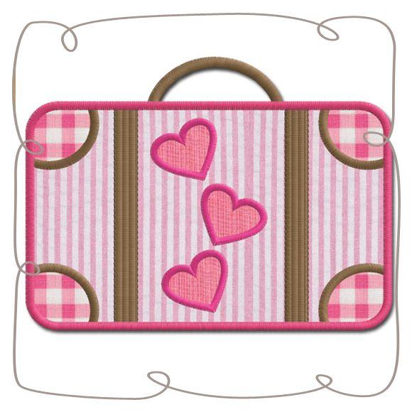Paris Suitcase Applique Machine EMbroidery design pattern-INSTANT DOWNLOAD