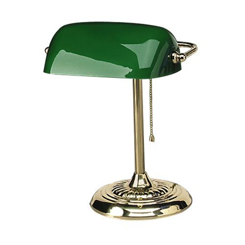 Traditional Incandescent Banker's Lamp, Green Glass Shade, Brass Base, 14 Inches Advantus Corp. http://www.amazon.co.uk/dp/B001602AJM/ref=cm_sw_r_pi_dp_YUX3wb01BZ29E