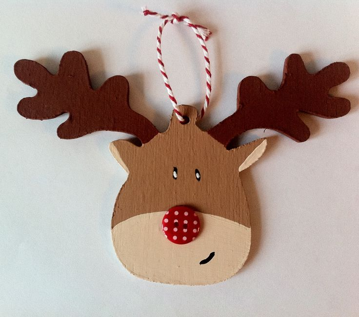 Wooden reindeer hand cut & hand painted by bcreations85 #christmas #decoration #Rudolph
